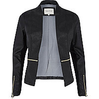 Black zip around leather-look fitted jacket