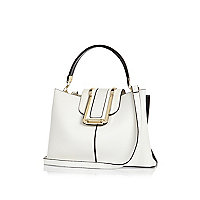 White flap-over bucket tote bag