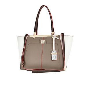 Grey textured winged tote handbag
