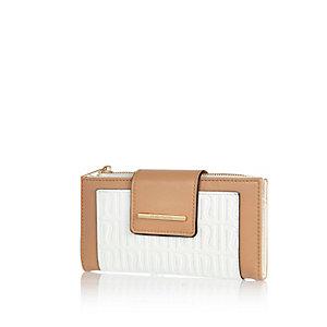 White RI embossed tab top purse