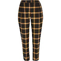 Beige check pleated cigarette pants