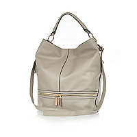 Grey zip bottom slouch bag
