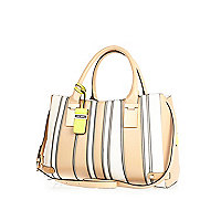Beige smart stripe luggage tag tote bag