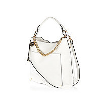 White chain trim slouch bag