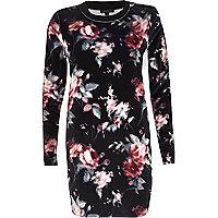 Black velvet floral print longline top