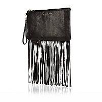Black fringed leather clutch bag