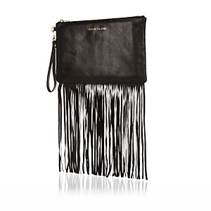 Black fringed leather clutch bag