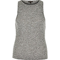 Grey marl rib fitted vest