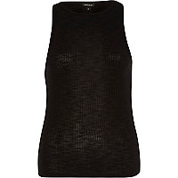 Black ribbed racer back vest