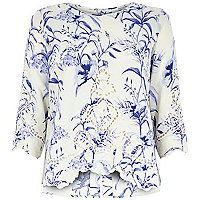 Cream floral print embroidered front top