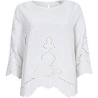 White cotton embroidered t-shirt