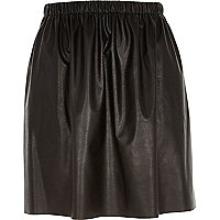 Black leather-look ruched skirt