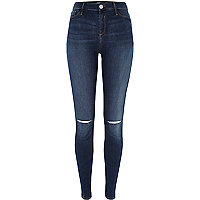 Dark wash ripped knee Molly jeggings