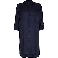 Navy crepe shirt dress
