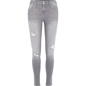 Grey wash ripped Amelie superskinny jeans