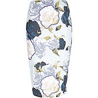 Blue rose print pencil skirt