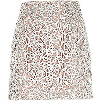 Silver lace A-line skirt