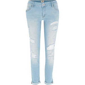 Light wash ripped Cara superskinny jeans