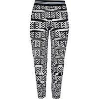 Black geometric print jersey joggers
