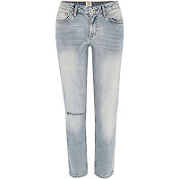 Light wash ripped knee Eva girlfriend jeans