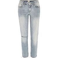 Light wash ripped knee Eva girlfriend jeans