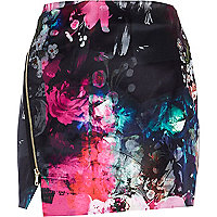 Pink floral print zip wrap mini skirt