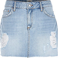 Light wash Sky denim mini skirt