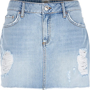 Light wash Sky denim mini skirt