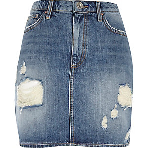 Mid wash Maddie denim mini skirt