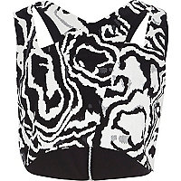 Black print cut away crop top