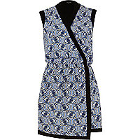 Blue geometric print wrap front dress
