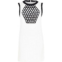 White embellished panel shift dress