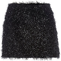 Black Chelsea Girl tinsel mini skirt