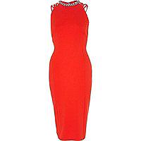 Red embellished strappy column dress