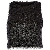Black Chelsea Girl tinsel crop top