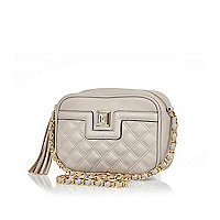 Grey quilted cross body bag