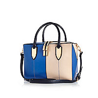 Blue leather-look split front boxy bowler bag