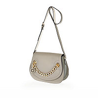 Grey chain detail saddle bag