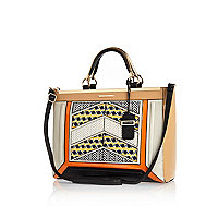 Orange chevron geo print clip top tote bag