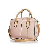 Pink leather-look split front boxy bowler bag