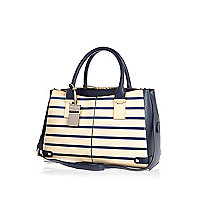 Cream stripe snake print boxy tote bag