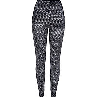 Grey graphic print leggings