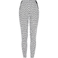 White graphic print leggings