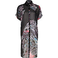 Black Design Forum motor print shirt dress