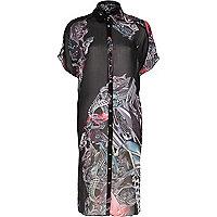 Black Design Forum motor print shirt dress