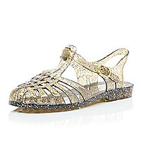 Silver glittery jelly shoes