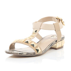 Pink stud T-bar sandals
