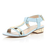 Light blue stud T-bar sandals