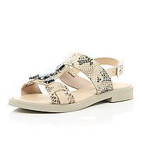 Beige leather snake print embellished sandals