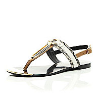 Tan snake print gold trim sandals